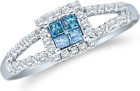 Showman Jewels 14k White Gold Blue Diamond Princess and Round Cut Diamond Engagement Ring (1/3 cttw, H Color, I1 Clarity)