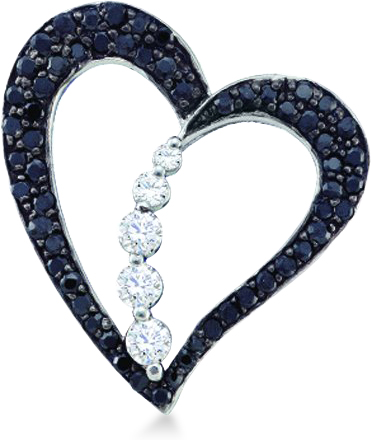 Showman Jewels 10k White Gold Black and White Diamond Round Cut Heart Journey Shape Love Pendant (1/2 cttw, H Color, I1 Clarity) at Sears.com