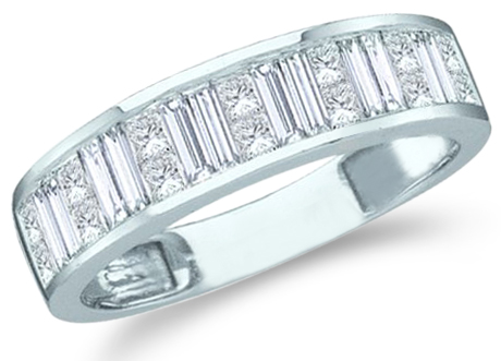 Showman Jewels 14k White Gold Princess Cut and Baguette Diamond Wedding 5mm Ring Band (1.0 cttw, G - H Color, SI2 Clarity) ...