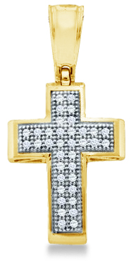 Showman Jewels 10k Yellow Gold Round Cut Pave Set Diamond Cross Pendant (1/10 cttw, H Color, I1 Clarity) at Sears.com