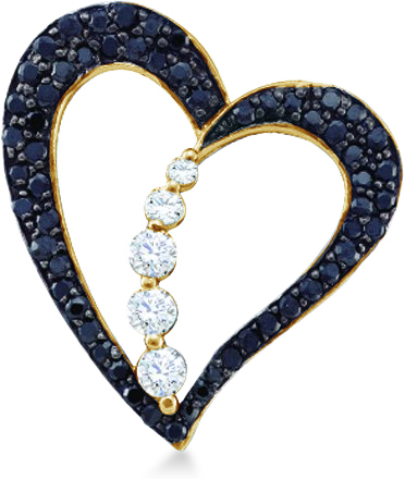Showman Jewels 10k Yellow Gold Black and White Diamond Round Cut Heart Journey Shape Love Pendant (1/2 cttw, H Color, I1 Clarity) at Sears.com