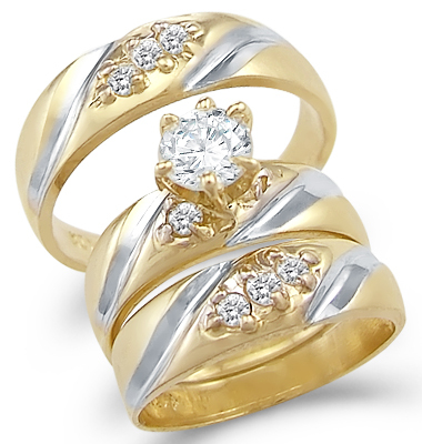 Solid 2 Two Tone 14k Gold Trio Three Wedding Ring Set
