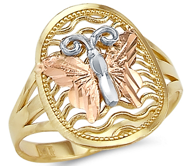 Showman Jewels 14k Yellow White and Rose Tri-Color Gold Butterfly Ring